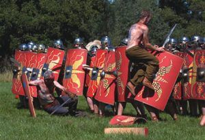An Iron Age warrior confronts Roman troops